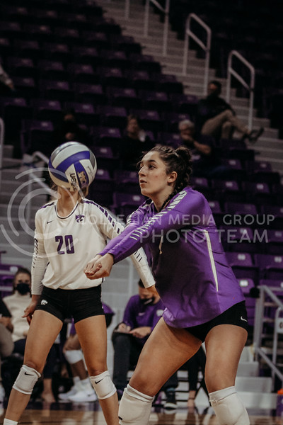 Junior defensive specialist Jacque Smith passes the ball during the Nov. 14, 2020 game against Texas Christian University. (Sophie Osborn | Collegian Media Group)