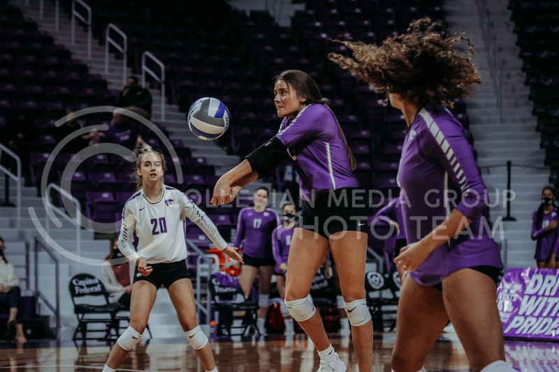 Freshman middle blocker Kadye Fernholz eyes the ball during the Nov. 14, 2020 game against Texas Christian University. (Sophie Osborn | Collegian Media Group)