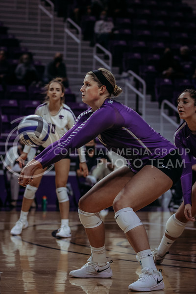 Junior outside hitter Brynn Carlson passes the ball during the Nov. 14, 2020 game against Texas Christian University. (Sophie Osborn | Collegian Media Group)