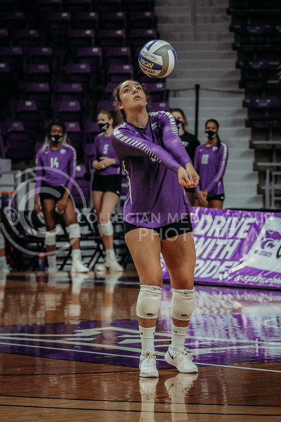 Junior defensive specialist Jacque Smith gets ready to pass the ball during the Nov. 14, 2020 game against Texas Christian University. (Sophie Osborn | Collegian Media Group)