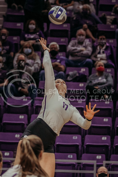 Brynn Carlson returns the ball during the Kansas State volleyball game against Texas at Bramlage Coliseum on Oct. 17, 2020. (Sophie Osborn | Collegian Media Group)