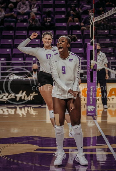 Abigail Archibong shows her excitement during the Kansas State volleyball game against Texas at Bramlage Coliseum on Oct. 17, 2020. (Sophie Osborn | Collegian Media Group)
