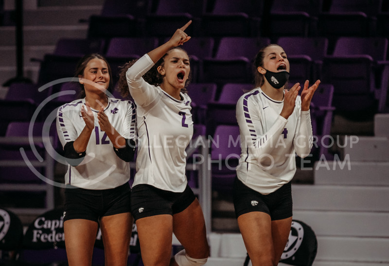 Players on the bench celebrate success during the Kansas State volleyball game against Texas at Bramlage Coliseum on Oct. 17, 2020. (Sophie Osborn | Collegian Media Group)