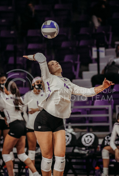 Dru Kuck prepares to hit during the Kansas State volleyball game against Texas at Bramlage Coliseum on Oct. 17, 2020. (Sophie Osborn | Collegian Media Group)