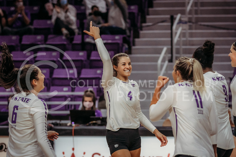 Kadye Fernholz looks to her teammates after an exciting point during the Kansas State volleyball game against Texas at Bramlage Coliseum on Oct. 17, 2020. (Sophie Osborn | Collegian Media Group)