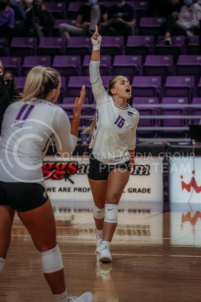 Dru Kuck celebrates during the Kansas State volleyball game against Texas at Bramlage Coliseum on Oct. 17, 2020. (Sophie Osborn | Collegian Media Group)