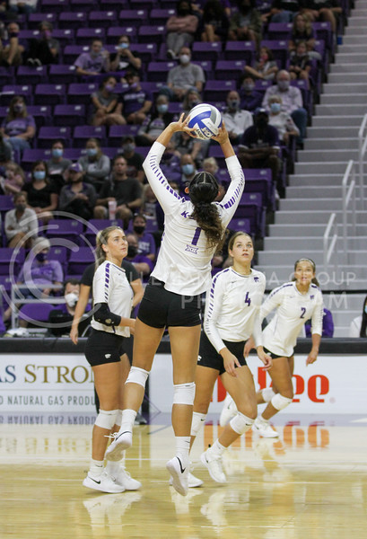 sets the ball up for a teammate during the game against Baylor on September 25, 2021 at Bramlage Coliseum. (Sophie Osborn   Collegian Media Group)