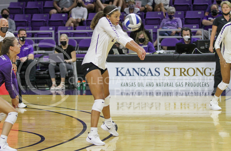 Sophomore Aliyah Carter bumps the ball up during the game against Baylor on September 25, 2021 at Bramlage Coliseum. (Sophie Osborn   Collegian Media Group)