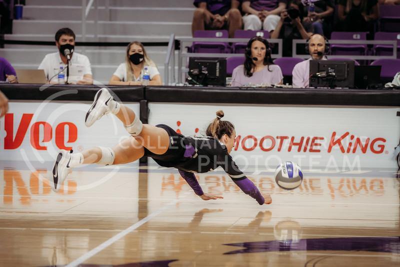Sophomore Mackenzie Morris dives to save the ball during the September 9, 2021 game against Ohio at Bramlage Coliseum. (Sophie Osborn   Collegian Media Group)