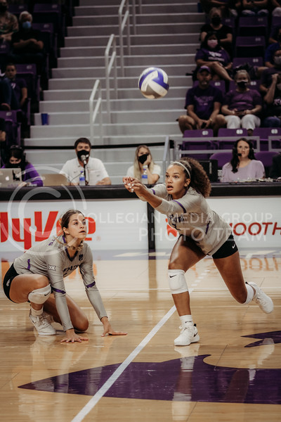 Sophomore Aliyah Carter hits the ball up for a teammate during the September 9, 2021 game against Ohio at Bramlage Coliseum. (Sophie Osborn   Collegian Media Group)