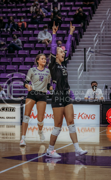 Mackenzie Morris celebrates during the game against Oklahoma on Oct. 22, 2020. (Sophie Osborn | Collegian Media Group)