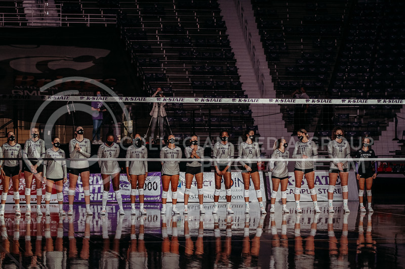 The team waits before the game against Oklahoma on Oct. 22, 2020. (Sophie Osborn | Collegian Media Group)
