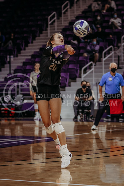 Mackenzie Morris hits the ball during the game against Oklahoma on Oct. 22, 2020. (Sophie Osborn | Collegian Media Group)