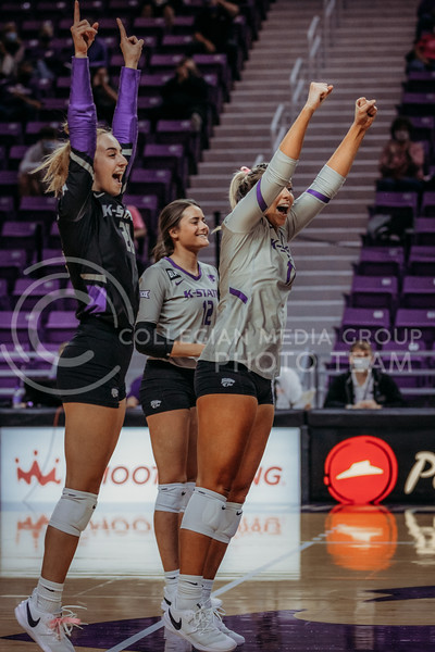 The team celebrates success between sets during the game against Oklahoma on Oct. 22, 2020. (Sophie Osborn | Collegian Media Group)