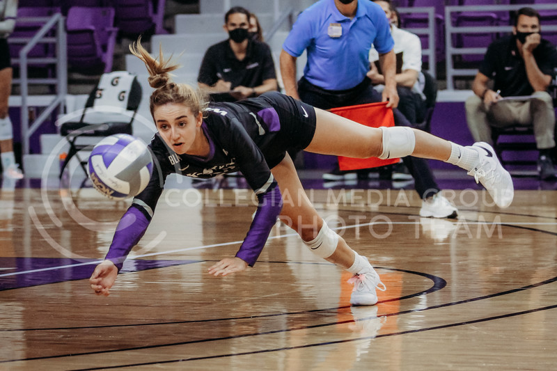 Mackenzie Morris dives to save the ball during the game against Oklahoma on Oct. 22, 2020. (Sophie Osborn | Collegian Media Group)