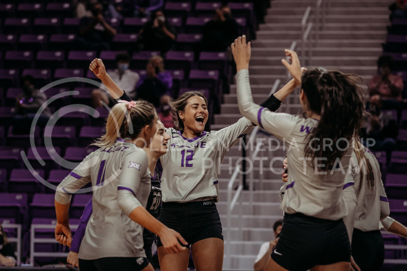 The team celebrates between points during the game against Oklahoma on Oct. 22, 2020. (Sophie Osborn | Collegian Media Group)