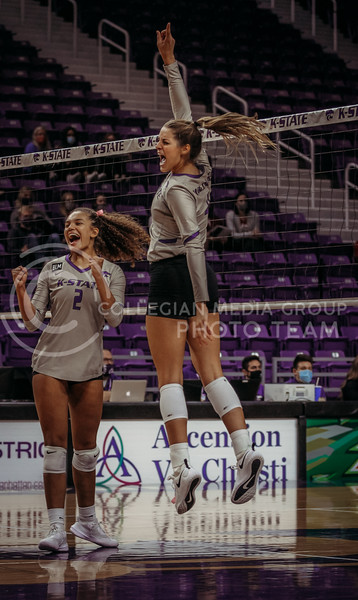 Teammates get pumped up during the game against Oklahoma on Oct. 22, 2020. (Sophie Osborn | Collegian Media Group)