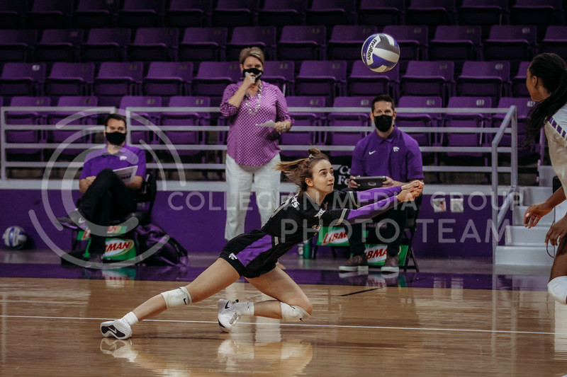 Freshman libero Mackenzie Morris dives to save the ball during the game against Texas State on March 4, 2021 game at Bramlage Coliseum. (Sophie Osborn   Collegian Media Group)