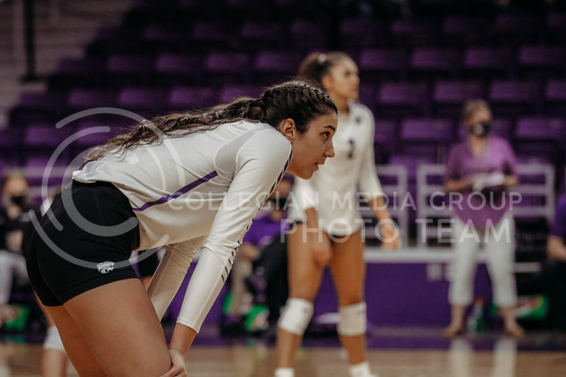 Sophomore Holly Bonde prepares for the next point during the game against Texas State on March 4, 2021 game at Bramlage Coliseum. (Sophie Osborn   Collegian Media Group)