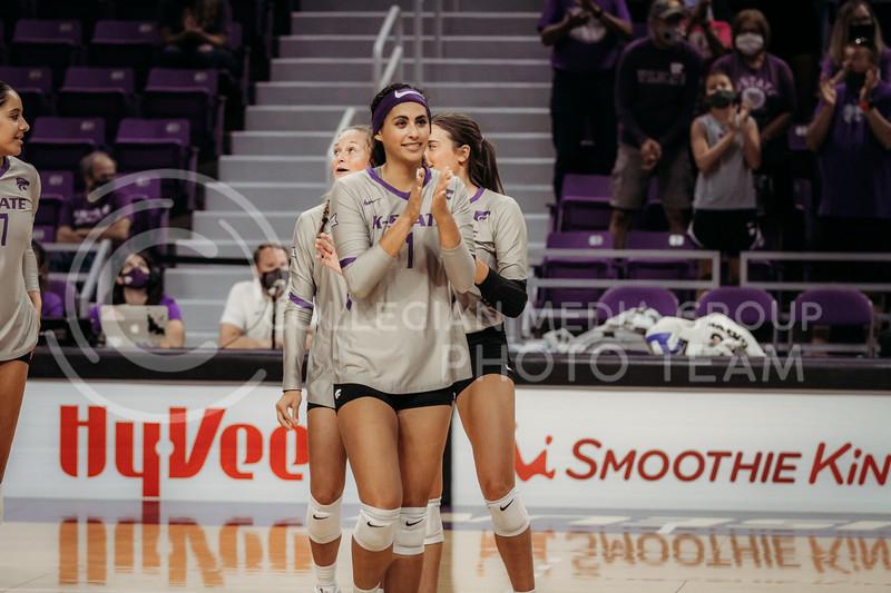 Junior Teana Adams-Kaonohi celebrates during the August 22nd game against University of Missouri-Kansas City at Bramlage Coliseum. (Sophie Osborn | The Collegian Media Group)