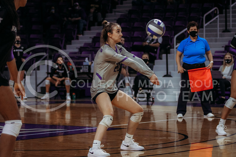 Freshman libero Mackenzie Morris focuses on the ball during the March 28, 2021 spring volleyball game against Wayne State at Bramlage Coliseum. (Sophie Osborn | Collegian Media Group)