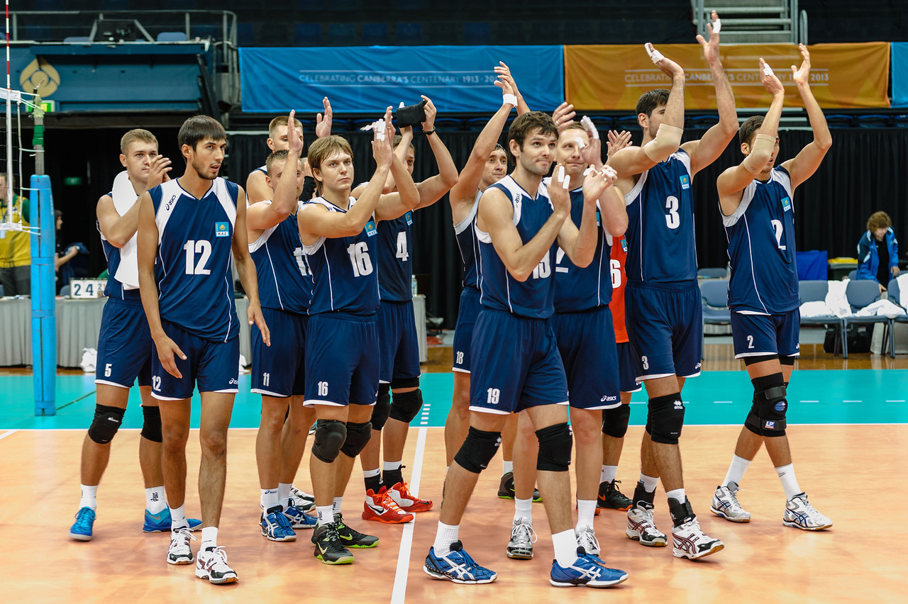 Kazakhstan team applaudes the spectators