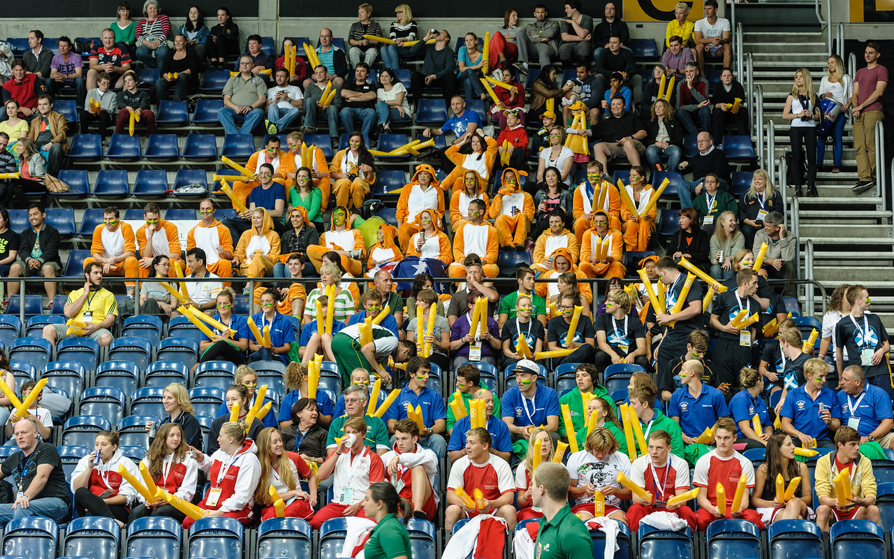 Colourful spectators.