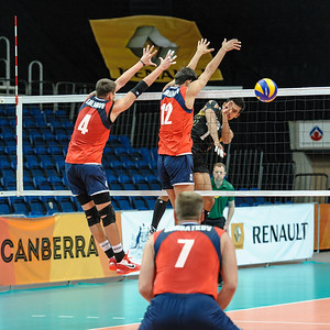 Blocks by Stolnikov and Kadirkhanov (Kazakhstan) to a spike by Raksakaew (Thailand)