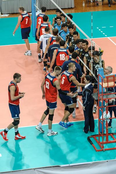 Handshakes after the match (Kazakhstan v Thailand)