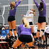 Lauren Teknip (11) spikes the ball for a point against Lipscomb during the Bulldog Invitational on Friday, Aug. 30, 2013, in Athens, Ga.  (Photos by Sean Taylor)