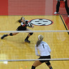 Allison Summers (19) blocks a spike during the Bulldog Invitational on Friday, Aug. 30, 2013, in Athens, Ga.  (Photos by Sean Taylor)