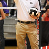 Assistant Volleyball Coach Josh Lauer gives directions pre-game, during the Bulldog Invitational on Friday, Aug. 30, 2013, in Athens, Ga.  (Photos by Sean Taylor)