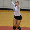 Kaylee Kehoe (10) serves the ball against Lipscomb during the Bulldog Invitational on Friday, Aug. 30, 2013, in Athens, Ga.  (Photos by Sean Taylor)