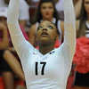 Jasmine Eatmon (17) sets the ball during a volleyball game against Tennessee on Friday, Oct. 4th 2013 in Athens, Ga. (Photo By Sean Taylor)