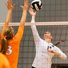 Stacey Smith (13) tries to score a point during a volleyball game against Tennessee on Friday, Oct. 4th 2013 in Athens, Ga. (Photo By Sean Taylor)