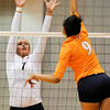 Brittany Northcutt (7) jumps up to stop a ball during a volleyball game against Tennessee on Friday, Oct. 4th 2013 in Athens, Ga. (Photo By Sean Taylor)