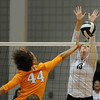 Stacey Smith jumps up to block a ball during a volleyball game against Tennessee on Friday, Oct. 4th 2013 in Athens, Ga. (Photo By Sean Taylor)
