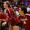 Alabama setter Shannon Mikesky (17) and defensive specialist Quincey Gary (4) during the Bulldogs' match with Alabama at the Ramsey Center in Athens, Ga., on Friday, Sept. 30, 2016. (Photo by Cory A. Cole)