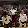 Georgia's Desiree McCray (23) and Meghan Donovan (22) during the Bulldogs' match with Alabama at the Ramsey Center in Athens, Ga., on Friday, Sept. 30, 2016. (Photo by Cory A. Cole)