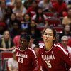 Alabama middle blocker Leah Lawrence (15) during the Bulldogs' match with Alabama at the Ramsey Center in Athens, Ga., on Friday, Sept. 30, 2016. (Photo by Cory A. Cole)