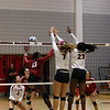 Georgia's Kendall Kazor (7) and Desiree McCray (23) during the Bulldogs' match with Alabama at the Ramsey Center in Athens, Ga., on Friday, Sept. 30, 2016. (Photo by Cory A. Cole)