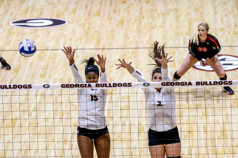 Georgia's Majesti Bass (19) and Amanda Dachs (2) during the Bulldogs' match with Missouri at the Ramsey Center in Athens, Ga. on Wednesday, Nov. 23, 2016. (Photo by John Paul Van Wert / Georgia Sports Communication)