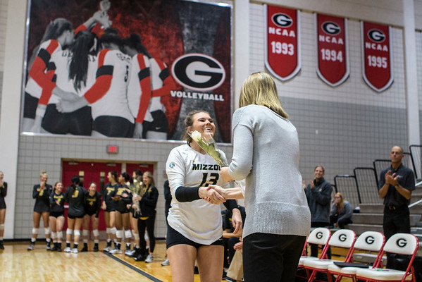 during the Bulldogs' match with Missouri at the Ramsey Center in Athens, Ga. on Wednesday, Nov. 23, 2016. (Photo by John Paul Van Wert)