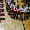 The women's volleyball team huddles during the Bulldogs' match against Ole Miss at Ramsey Center in Athens, Ga., on Sunday, Nov. 20, 2016. (Photo by Cory A. Cole)
