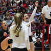 Georgia's Cassidy Anderson (20) and Maddie Lobenstein (13) during the Bulldogs' match against Ole Miss at Ramsey Center in Athens, Ga., on Sunday, Nov. 20, 2016. (Photo by Cory A. Cole)
