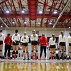 The women's volleyball team stands during the National Anthem before the Bulldogs' match against Ole Miss at Ramsey Center in Athens, Ga., on Sunday, Nov. 20, 2016. (Photo by Cory A. Cole)