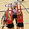 Georgia's Anna Kate Karstens (11) and Kendall Kazor (7) block the ball during the Bulldogs' game with Savannah State at the Ramsey Center in Athens, Ga., on Saturday, August 27, 2016. (Photo by David Barnes)