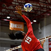 Georgia's Majesti Bass (19) hits the ball during the Bulldogs' game with Savannah State at the Ramsey Center in Athens, Ga., on Saturday, August 27, 2016. (Photo by David Barnes)