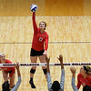 Georgia's Maddie Lobenstein (13) hits the ball during the Bulldogs' game with Savannah State at the Ramsey Center in Athens, Ga., on Saturday, August 27, 2016. (Photo by David Barnes)