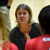 Georgia head coach Lizzy Stemke talks with her team during the Bulldogs' game with Savannah State at the Ramsey Center in Athens, Ga., on Saturday, August 27, 2016. (Photo by David Barnes)
